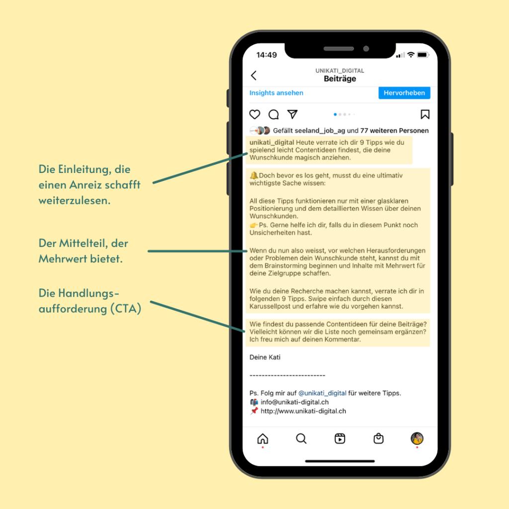 So gliederst du deine Texte im Instagram Beitrag. Einleitung, Mittelteil, Handlungsaufforderung.